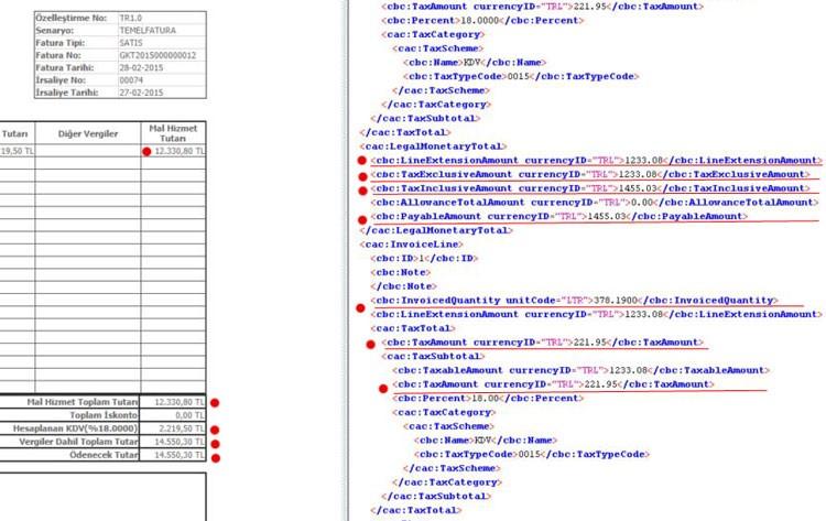 E-fatura görüntüsü ve değiştirilmiş kodlar
